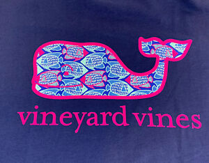 Vineyard-Vines-Womens-S-S-Angelfish-Whale-Fill-Pocket-T-shirt-Sz-M-Navy-NEWTAGS