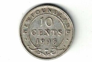 NEWFOUNDLAND-1946-10-CENTS-DIME-KING-GEORGE-VI-CANADIAN-800-SILVER-COIN