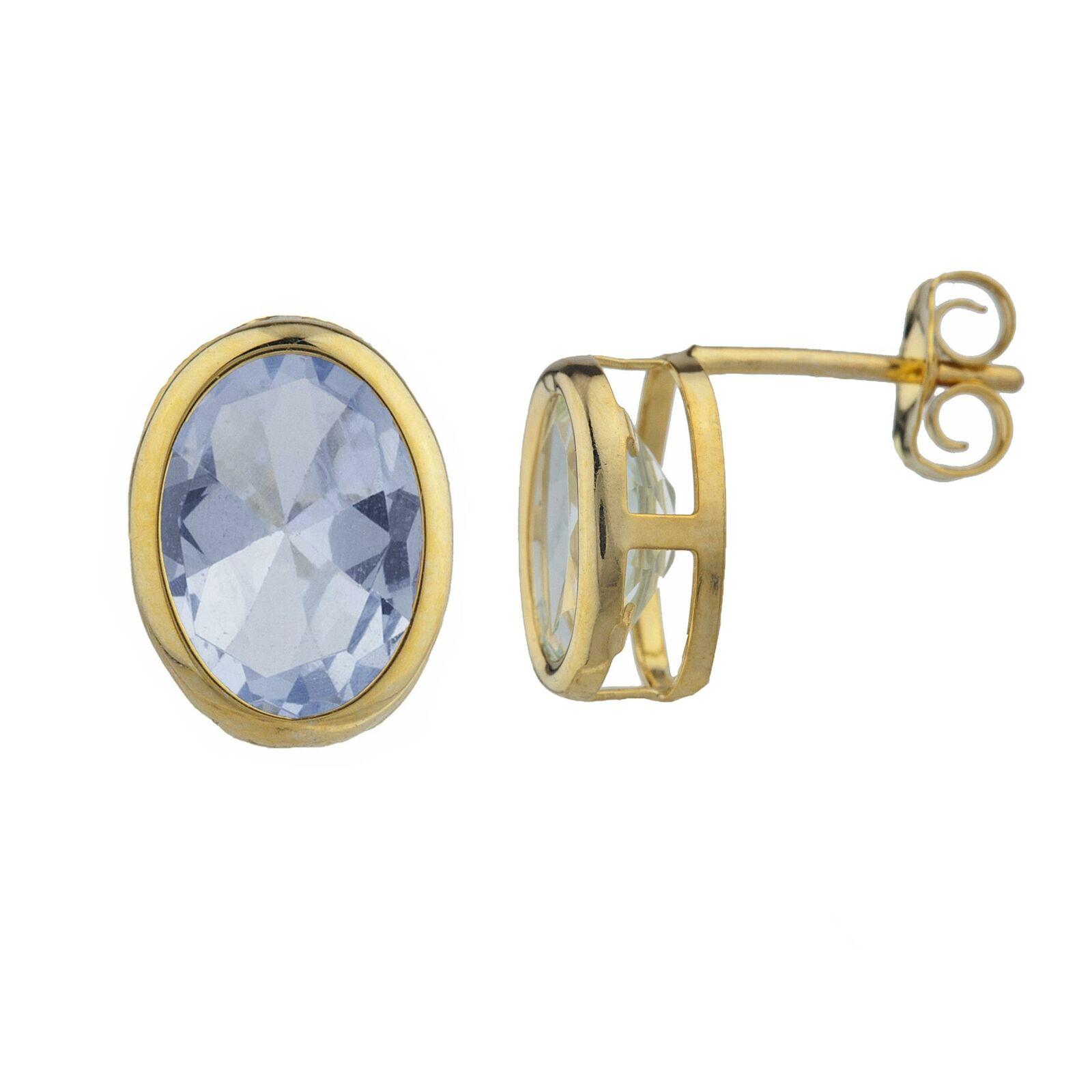 14Kt gold Aquamarine Oval Bezel Stud Earrings