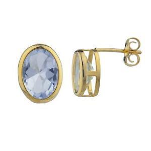 Details About 14kt Gold Aquamarine Oval Bezel Stud Earrings