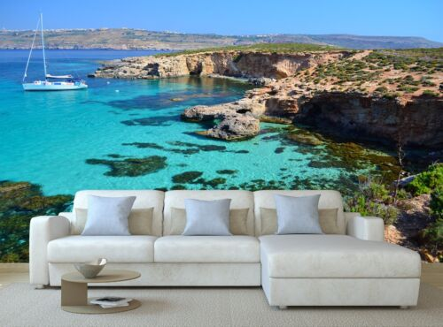 Yacht in Comino Malta 3D Mural Photo Wallpaper Decor Large Paper Wall