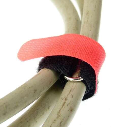 20 x Klettband Kabelbinder 16cm x 16mm neon rot Kabel Klettbänder Kabelklettband