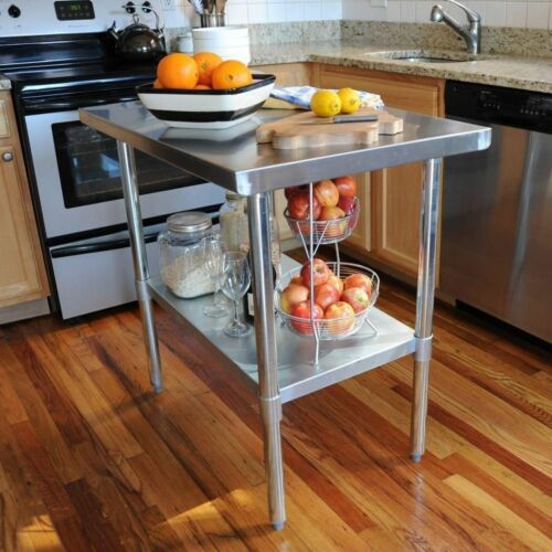 24  x 49 x 35 in Stainless Steel Utility Table Kitchen Work Center Island NEW