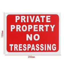 PRIVATE PROPERTY NO TRESPASSING Sign Plastic Stickers Safety Signs Decal 20x15cm