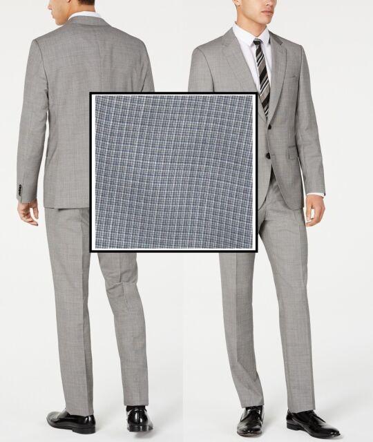 42R Hugo Boss Mens Reyno//Wave Grey Slim Fit Virgin Wool Textured Suit