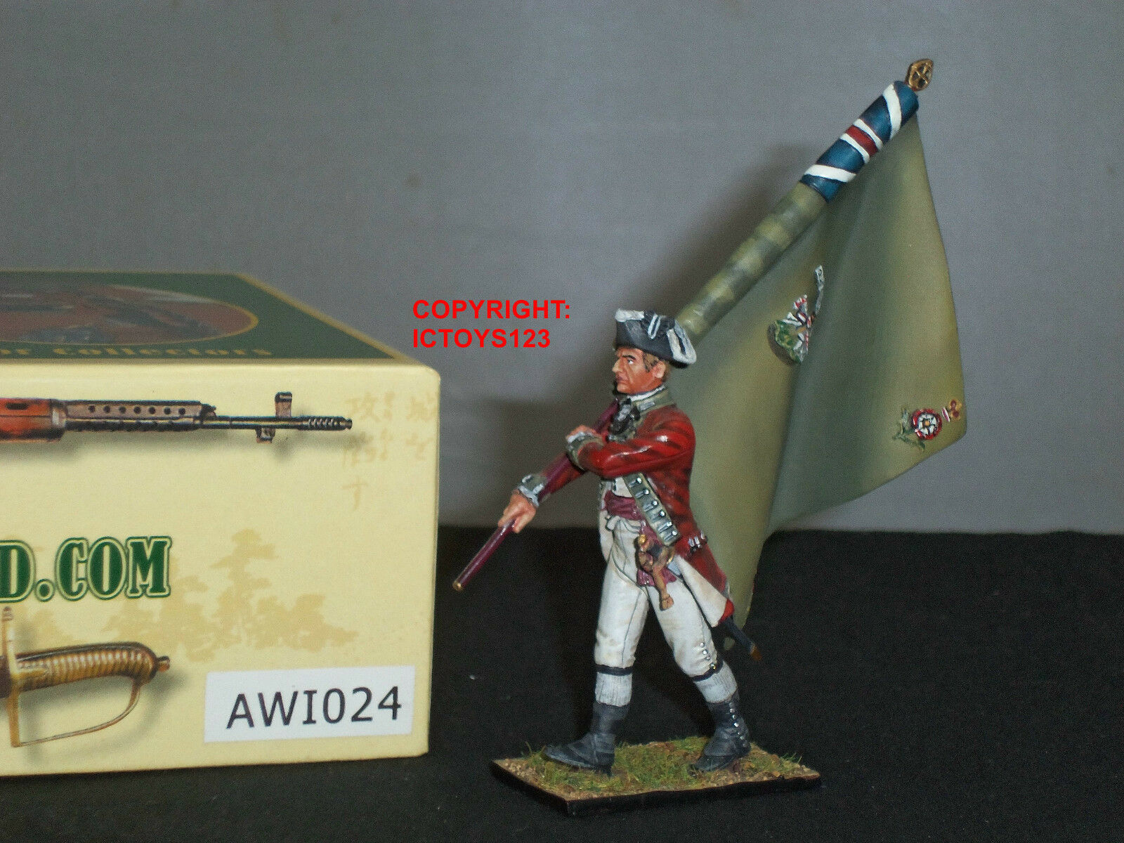 FIRST LEGION AWI024 BRITISH 5TH FOOT STANDARD BEARER METAL TOY SOLDIER FIGURE
