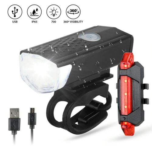 Bike Bicycle Light USB LED Rechargeable Set Cycle Front Back Headlight Lamp
