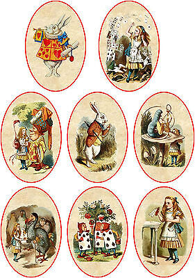 Vintage inspired oval Alice in Wonderland scrapbooking tags paper crafts set 8