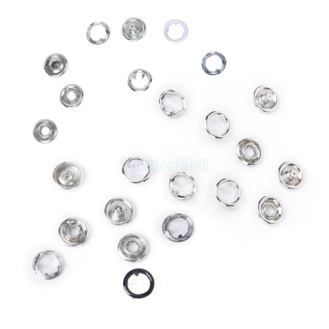 20 Sets No Sewing Snap Button Fasteners Dia. 9.5mm for Jeans Bag Leather Craft