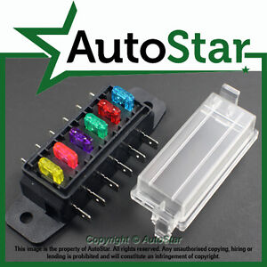 6 way mini blade fuse box holder atm, apm circuit caravan campervan caravan fuse box 6 way mini blade fuse box holder atm