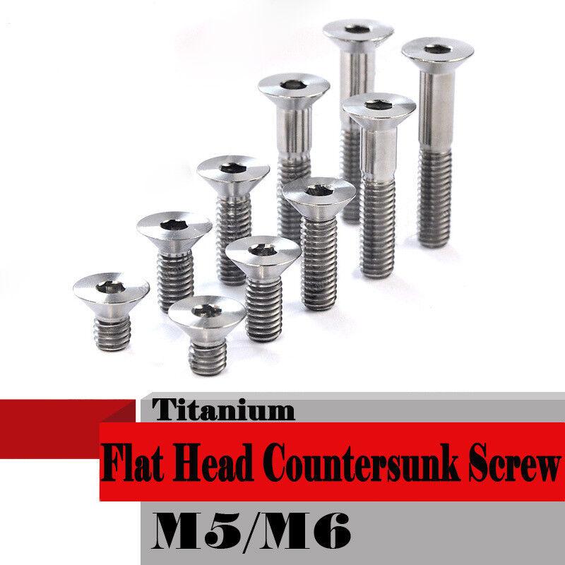 20pcs Titanium M5 M6 10 12 16 18 20 25 30mm Flat Head Bolts Countersunk Screws