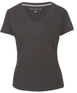 Tommy-Hilfiger-Womens-Short-Sleeve-V-neck-T-Shirt-Black-Size-Small