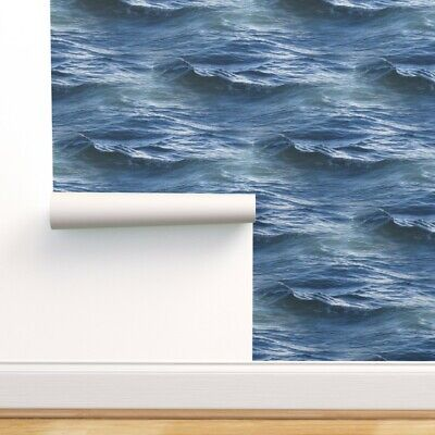 Removable Water-Activated Wallpaper Ocean Waves Nautical Blue Sea Water Aquatic