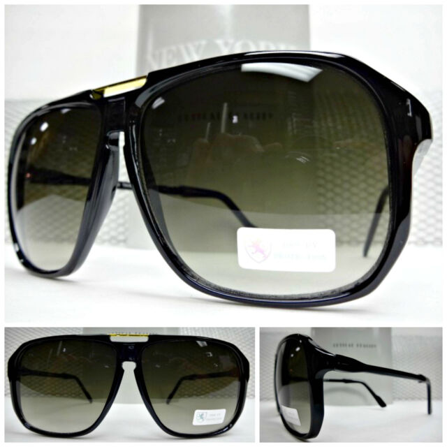 Mens Women LARGE OVERSIZED CLASSIC RETRO VINTAGE AVIATORS Style Black  SUNGLASSES 69e5d93ea385