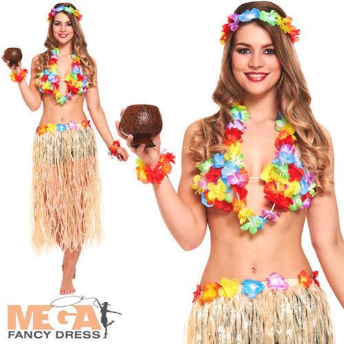 Set HAWAIANA DONNA COSTUME Tropicale Hula Beach Girl Costume Adulto Da Donna