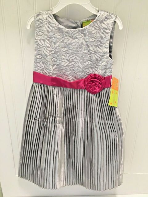 13b81027c PENELOPE MACK $58 Sliver Gray Pink Party Holiday Dress Girls Sz 6 FAST SHIP!