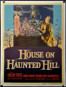 Casa-Encendido-Haunted-Colina-1959-Original-30X40-Linenbacked-Pelicula-Poster