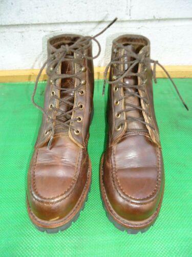 LL BEAN CHIPPEWA  Brown Leather Moc Toe Men Boot S