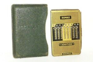 Vecchio Sumax Addimult Rechner Calcolatrice Regolo Calcolatore + Custodia