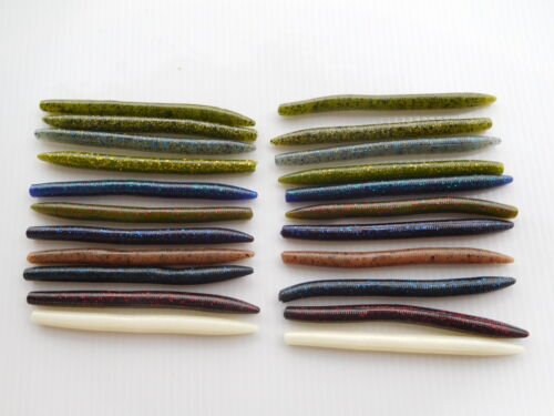 """Senko Style 5/"""" Bass Fishing Worms Soft Plastic Lures 50 Count Assortment"""