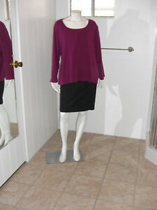 KAREN-SCOTT-Woman-Burgundy-Long-Sleeves-Stretch-Knit-Top-Sz-3X
