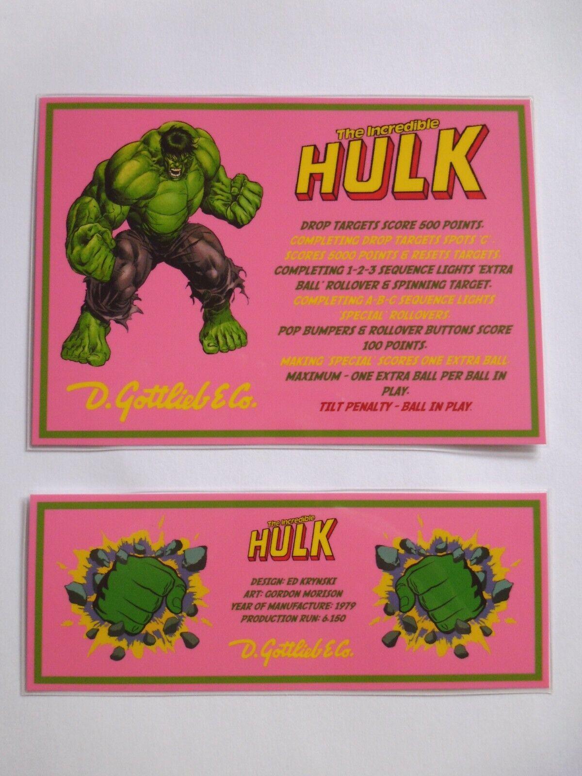 * 'THE INCREDIBLE HULK' Gottlieb 1979 Custom Instruction/Apron Cards (New) *