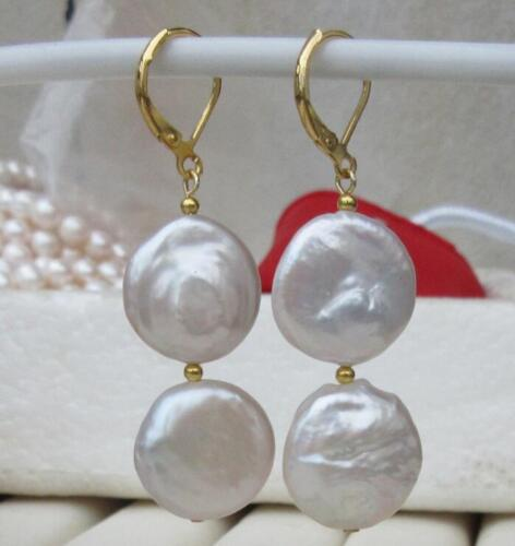 14K GOLD PAIR OF 17-18MM south sea AAA+ WHITE COIN PEARL DANGLE BAROQUE EARRING