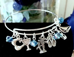 Summer-Beach-Themed-034-So-Cute-034-Silver-charm-Expandable-Bangle-Bracelet