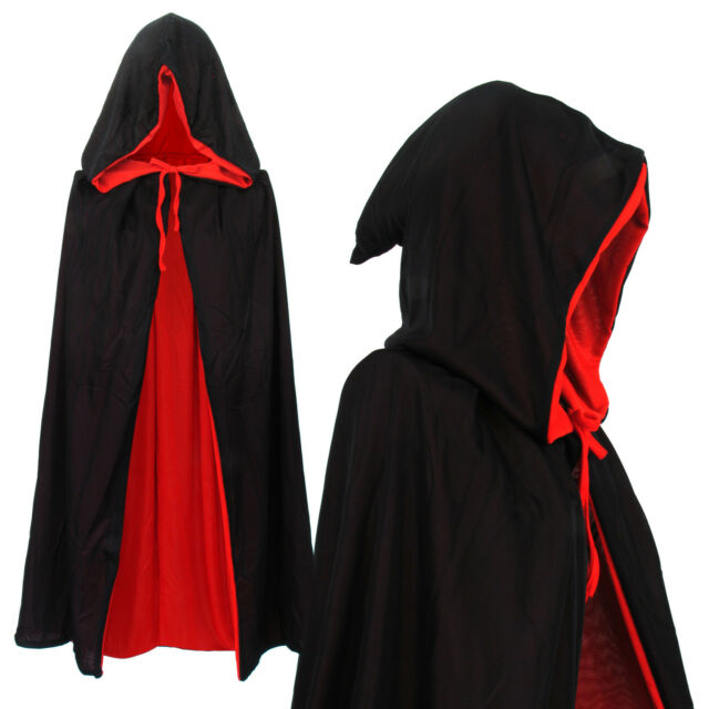 Vampir Umhang Wendeumhang mit Kapuze kind Cape schwarz rot 90cm lang Mantel