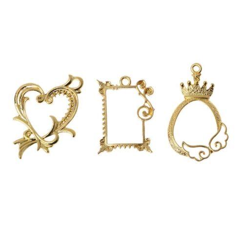 3Pcs Queen Heart Hollow Photo Frame Pendant Open Bezel Setting Resin Jewelry DIY