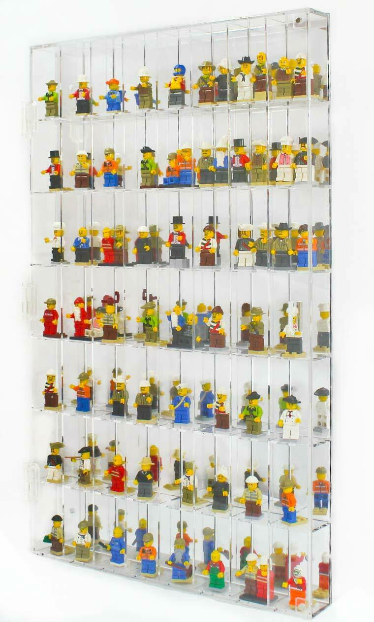 Minifigure Display Case Wall Cabinet, Wall Mounted