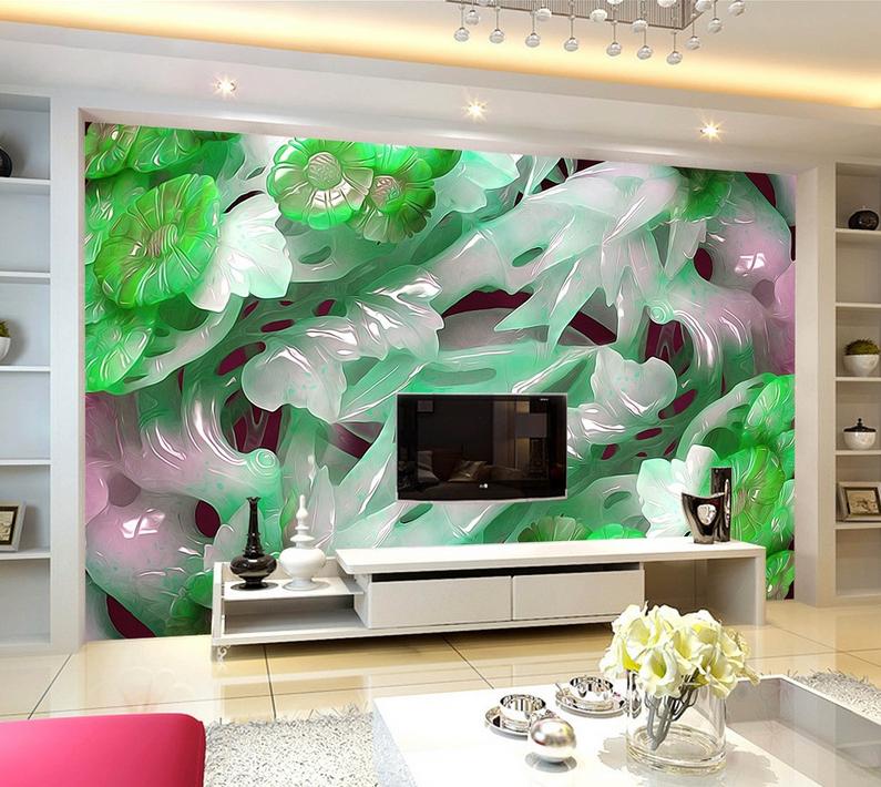 3D Jade-Schnitzerei 745 Tapete Wandgemälde Tapete Tapeten Bild Familie DE Summer | Mama kaufte ein bequemes, Baby ist glücklich  | Spielen Sie Leidenschaft, spielen Sie die Ernte, spielen Sie die Welt  | Verkauf