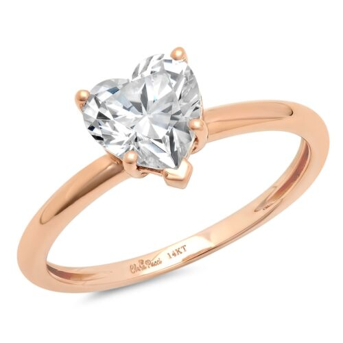 2.2 ct Coeur Cut Engagement Mariage Promesse Solitaire Anneau 14k or rose