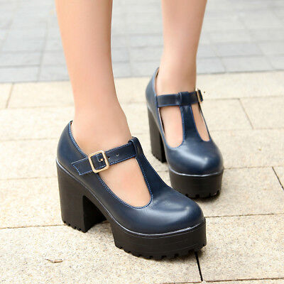 Womens Chunky Heels Platform Mary Janes
