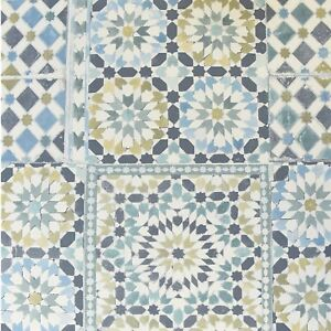 Moroccan-Tile-Teal-White-Blue-Green-Mosaic-Wallpaper-Kitchen-Bathroom-118001