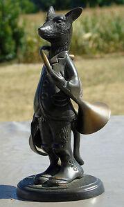 Sculpture-en-bronze-series-des-animaux-sonneurs-de-chasse-a-Courre-le-Renard