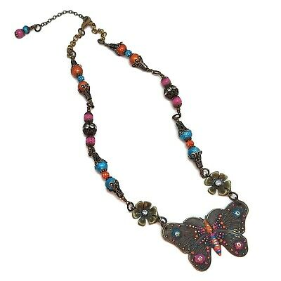 Aqua Blue Floral Sparkly Rhinestones Colorful Insect Butterflies Hot Pink Unique One of a Kind Orange Brass Butterfly /& Flowers Necklace