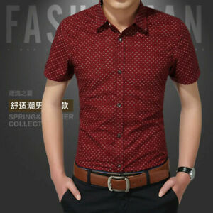 Men-Luxury-Casual-Slim-Fit-Business-Button-Dress-Shirts-Short-Sleeve-Shirt-Tops