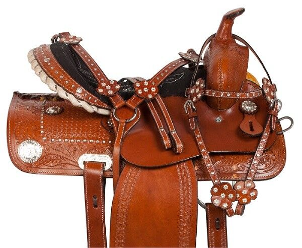 BEAUTIFUL LEATHER WESTERN BARREL RACING TRAIL HORSE LEATHER SADDLE 15 16