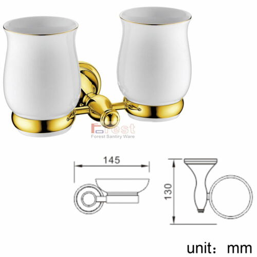 Wall Mount Brass ORB Gold Chrome Bathroom Accessory Double Cup Toothbrush Holder