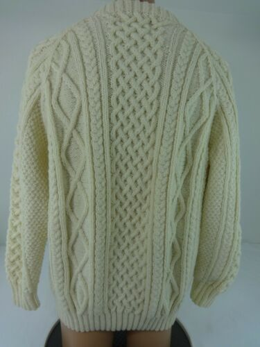 L Taille Cableknit laine Fisherman Ireland Crew Pull Of 100 Standun Ivory Pure gwPPf1
