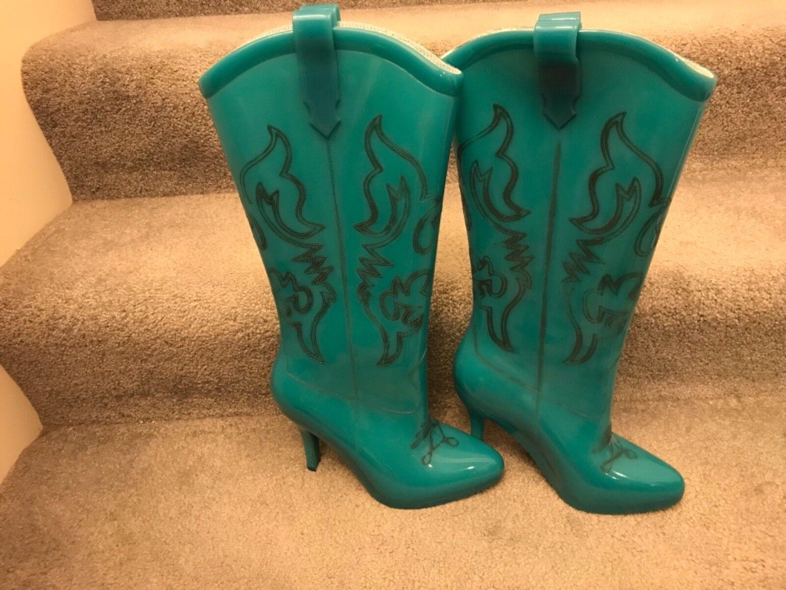 Jeremy Scott Melissa's Cowboy Western Stiefel tall Customized TEAL NIB RARE RARE NIB 7 & 9 b29b2f
