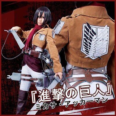 Attack on Titan Shingeki no Kyojin Mikasa Ackerman Cosplay Costume+Belts Set