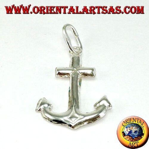 media Ciondolo in argento 925 ‰  àncora marina semplice