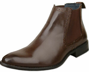 Mens-New-Brown-Leather-Lined-Chelsea-Ankle-Dealer-Boots-Size-6-7-8-9-10-11-12-13