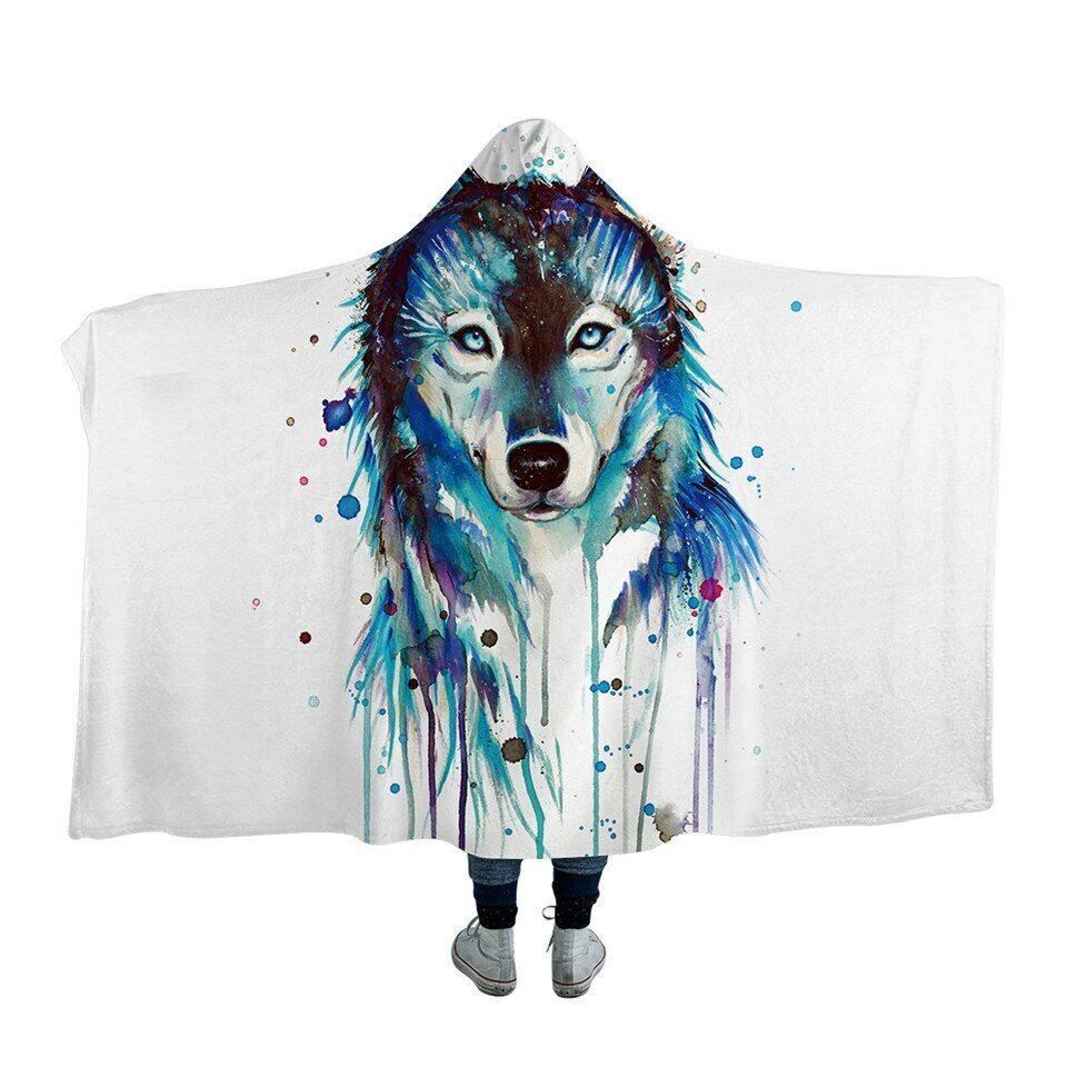 Wolf by Pixie Cold Art bluee Kids Adults Sherpa Fleece Fur Hooded Blanket Throw