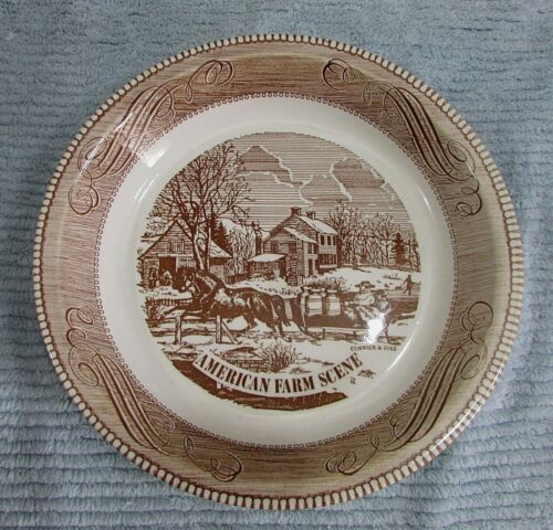 Brown American Farm Scene Royal China Jeannette Stoneware 10  Pie Plate FREE SH & Order Affordable Brown American Farm Scene Royal China Jeannette ...