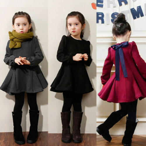 Kids Girl Long Sleeve Skater Dress Winter Casual Outfit School Costume Dresses