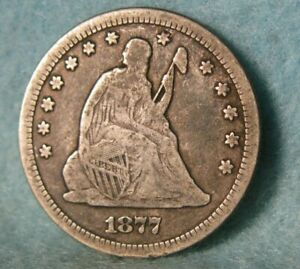 1877-CC Seated Liberty Silver Quarter Better Grade United States Coin
