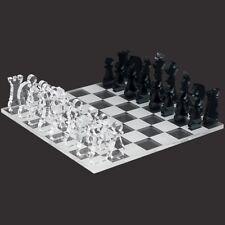 Mini Schachspiel 33tlg. aus transparentem Acryl klar und grau, Schachbrett per L